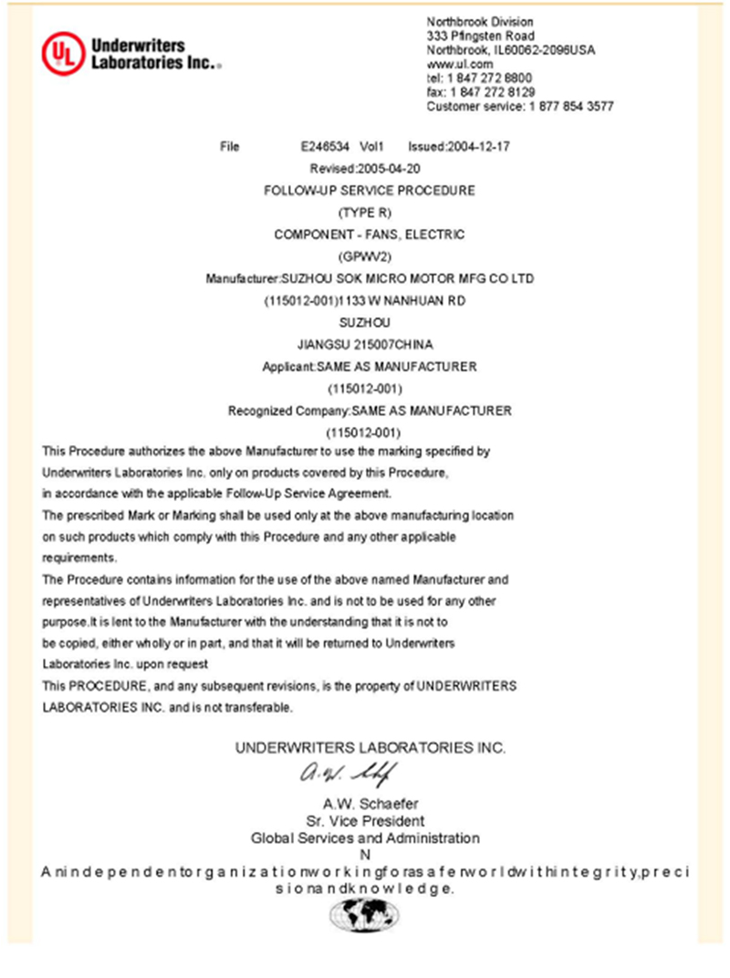Certification Of Rebeck Gear Motors Maker
